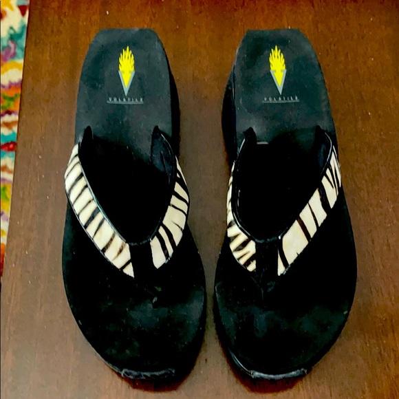 Volatile Black White Zebra Sandals